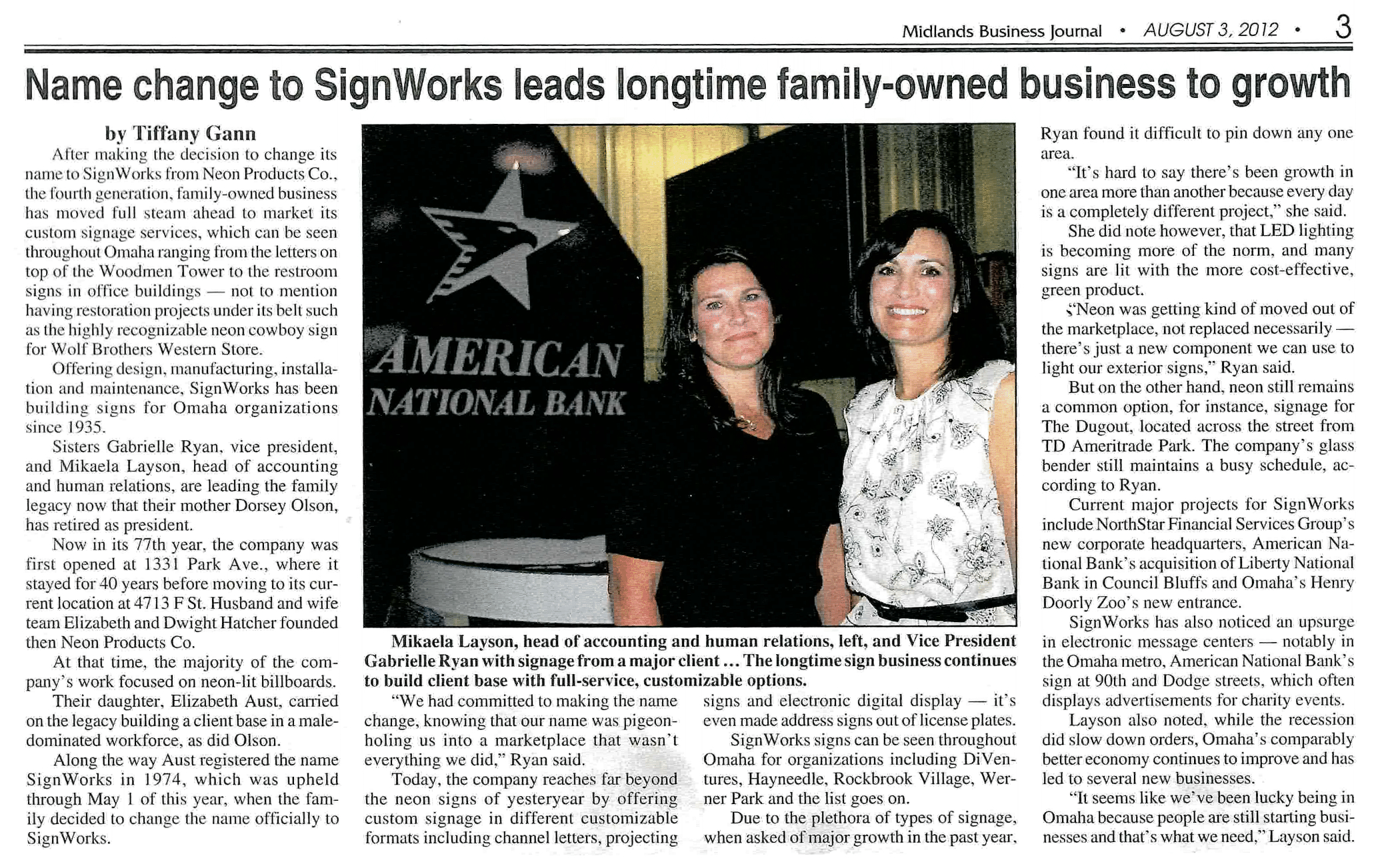 Midlands Business Journal | SIGNWORKS Omaha, exterior and interior signs
