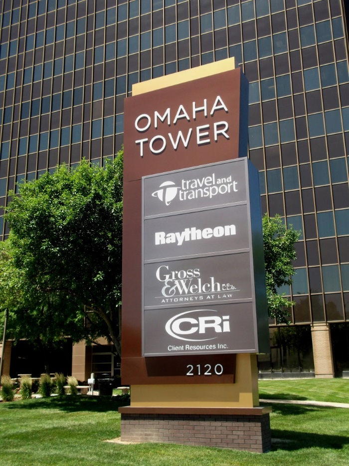 Illuminated, double-face Omaha Tower monument sign