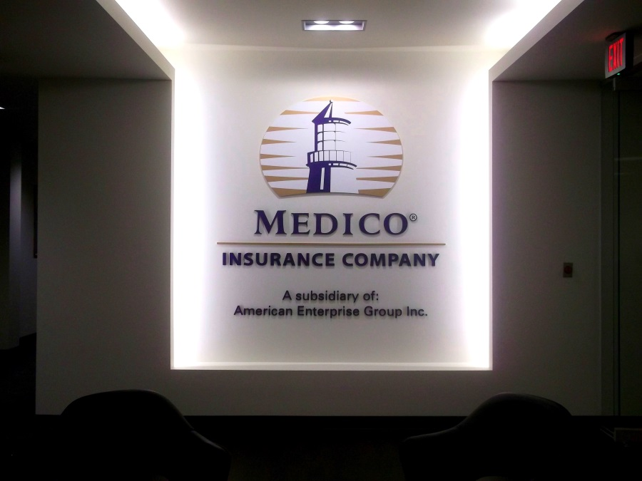 Interior flat cut out letters and logo  for Medico Insurance Company
