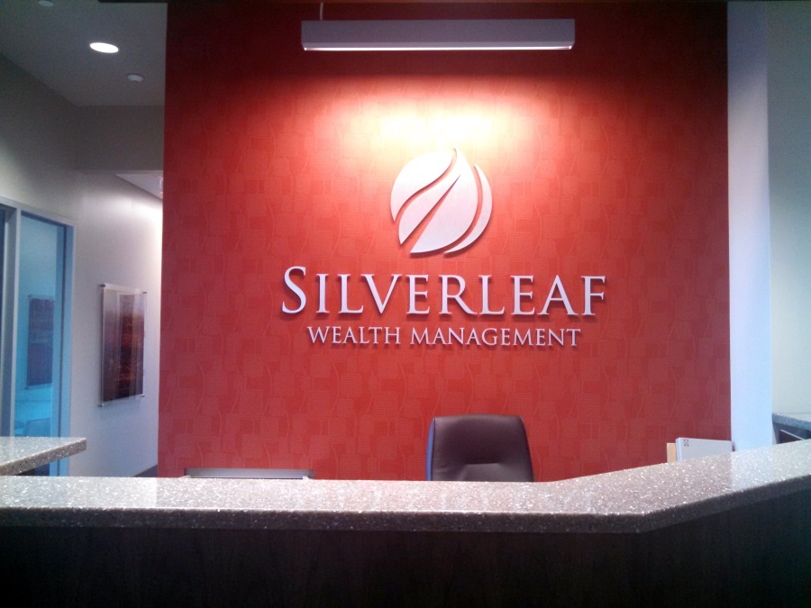 Interior flat cut out letters and logo for Silverleaf Wealth Management