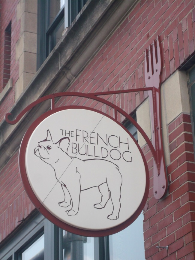 Non-illuminated, double-face projecting sign for The French Bulldog in Dundee
