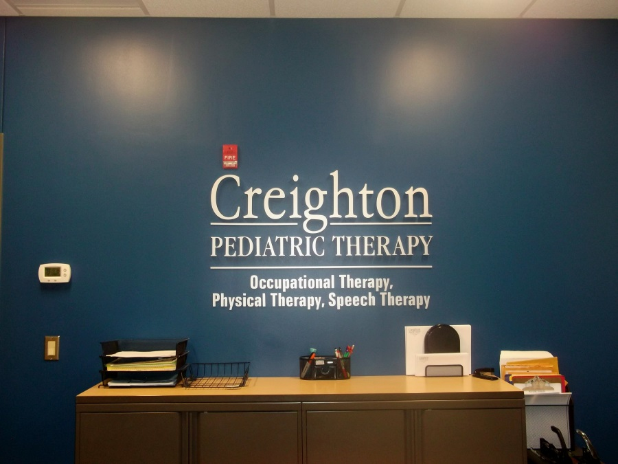 Interior flat cut out letters for Creighton Pediatric Therapy