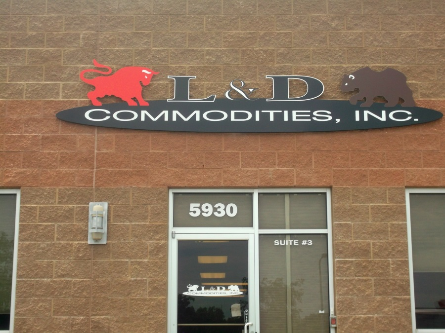 Non-illuminated flat cut out letters and logo for L & D Commodities