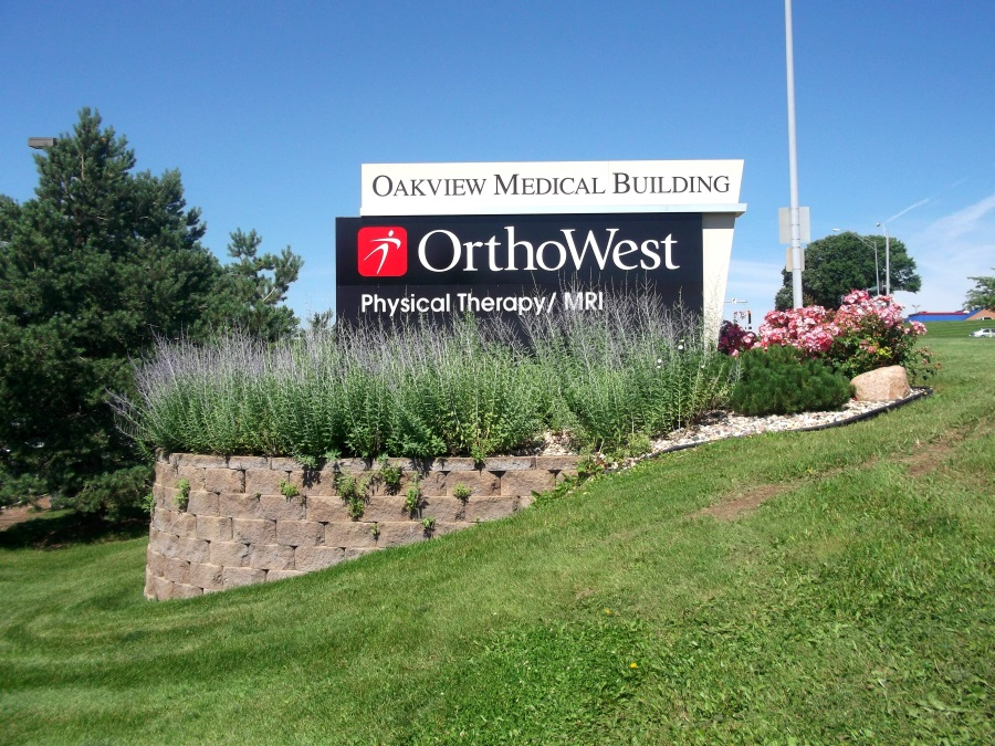 Illuminated, double-face Orthowest monument sign
