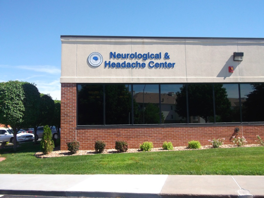 Non-illuminated flat cut out Neurological & Headache Center and logo for exterior