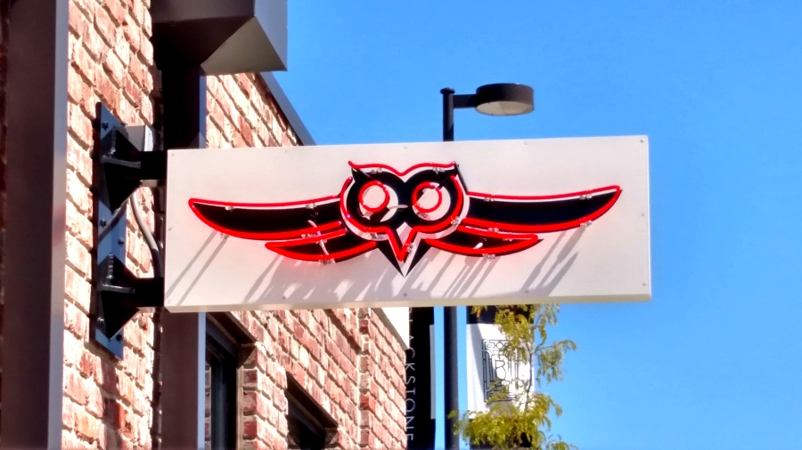 Neon illuminated, double-face projecting sign for Nite Owl in the Blackstone District